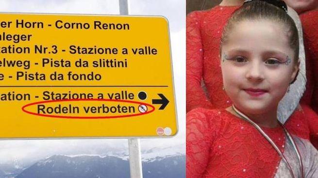 Emily Formisano e il cartello con il divieto solo in tedesco