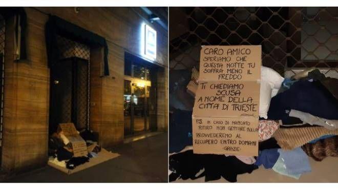 Il cartello sul giaciglio del clochard a Trieste