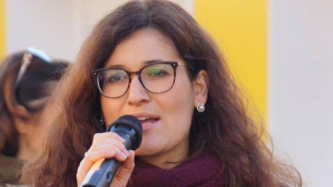 Francesca Brogi all'inaugurazione dei moduli prefabbricati