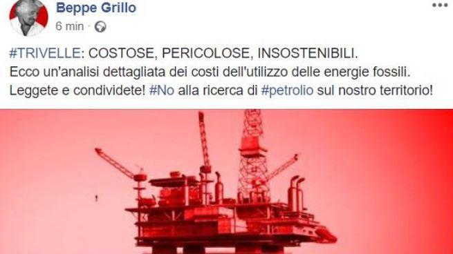 Sul blog di Beppe Grillo intervento anti-trivelle
