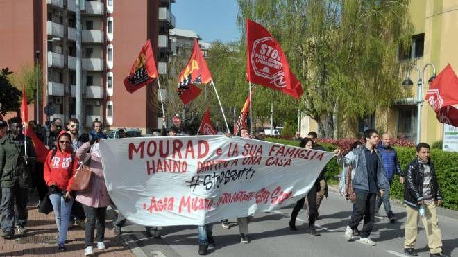 Una manifestazione anti sfratti