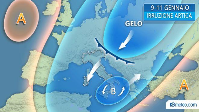Ondata di maltempo, freddo sull'Italia. Le previsioni del tempo. Grafico 3bmeteo