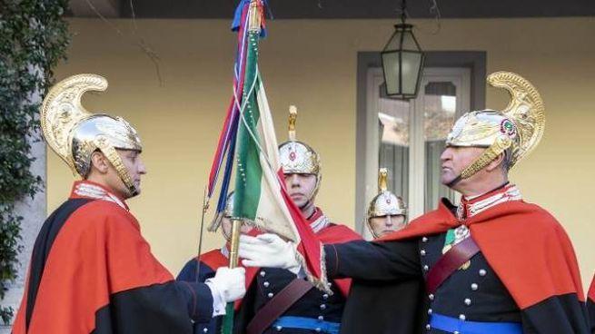Luciano Magrini (a sinistra) durante la cerimonia a Roma