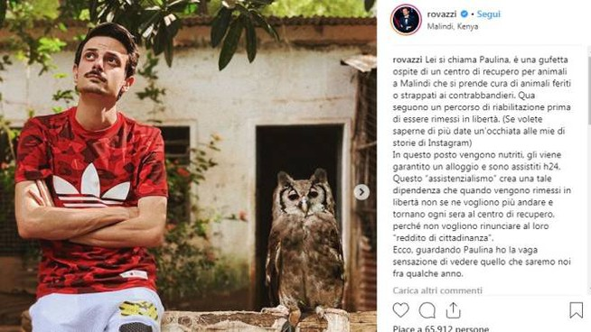 Fabio Rovazzi in  vacanza in Kenya (foto Instagram)