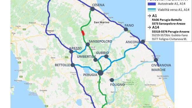 E45 chiusa tra Canili e Valsavignone, i percorsi alternativi