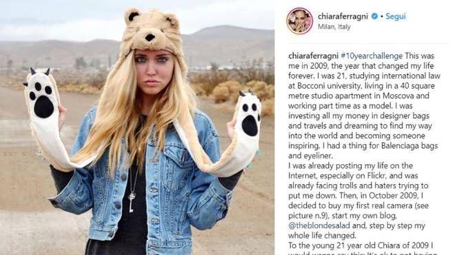 #10yearschallenge, una delle foto postate su Instagram da Chiara Ferragni