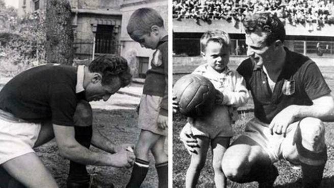 Due immagini d'epoca di Valentino Mazzola