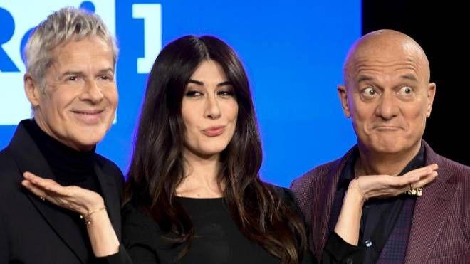 Claudio Baglioni, Virginia Raffaele e Claudio Bisio durante la presentazione del festival