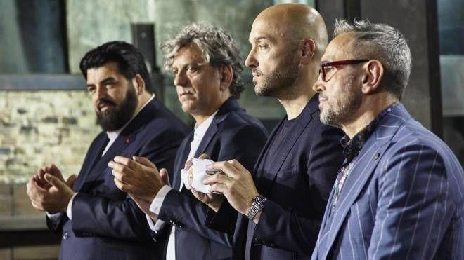 Bruno Barbieri, Joe Bastianich, Antonino Cannavacciuolo e Giorgio Locatelli durante la nuova edizione di Masterchef, in una foto diffusa il 16 gennaio 2019. ANSA/ UFFICIO STAMPA  ++HO -NO - SALES EDITORIAL USE ONLY++