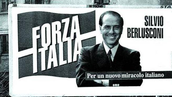 Un mega manifesto di Forza Italia nel 1994