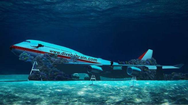 Il Boeing nel parco sottomarino del Bahrein - Foto: instagram/tourismbh