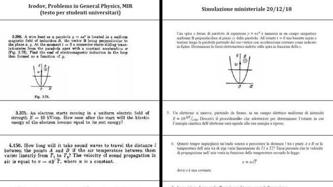 La pagina del manuale russo e la simulazione del Miur a confronto