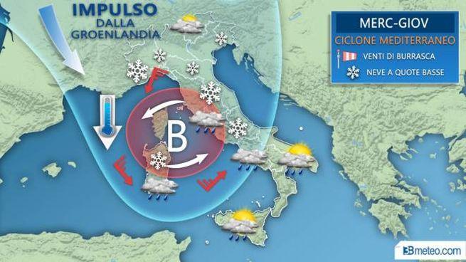 La mappa di 3bmeteo sul peggioramento con il ciclone mediterraneo