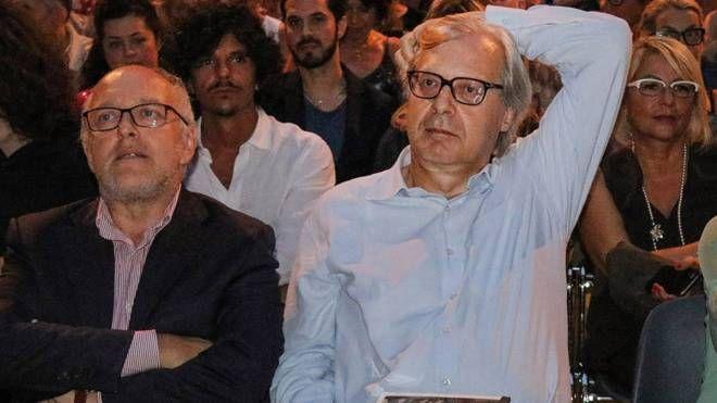 Tiziano Tagliani e Vittorio Sgarbi a un'iniziativa in Castello
