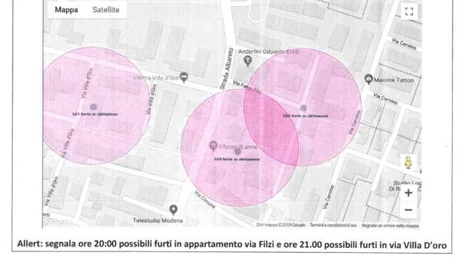 Modena, ecco Xlaw: il software che prevede i furti