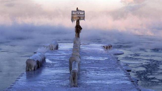 Chicago, il lago Michigan ghiacciato (Ansa)