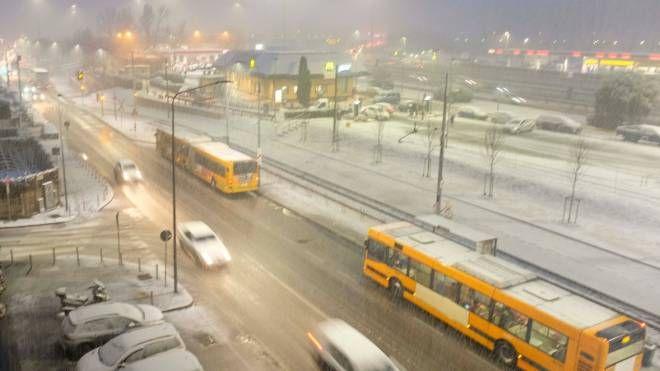 La neve a Milano. Previsioni meteo: maltempo sull'Italia (Newpress)