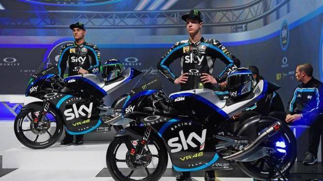 Luca Marini e Nicolò Bulega, piloti dello Sky Racing Team  VR46 (Ansa)