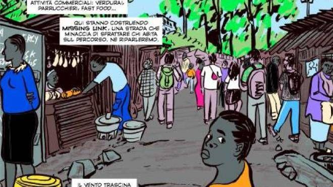 Giorgio Fontana con Danilo Deninotti e Lucio Ruvidotti sono stati a Nairobi  con i volontari della ong Rainbow for Africa Da lì è nata la graphic novel  che racconta il viaggio in un vero e proprio inferno
