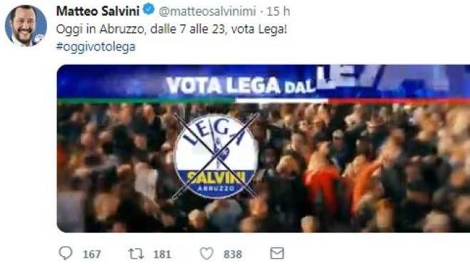 Oggi vota Lega: il tweet di Salvini fa scoppiare la polemica