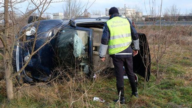 L'auto sulla quale erano i tre ragazzi (foto Fiocchi)