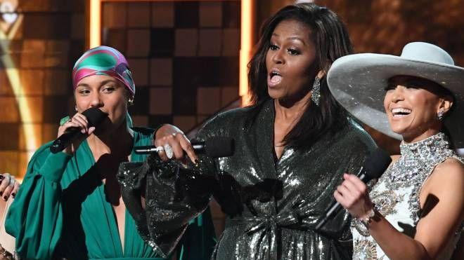 Alicia Keys, Michelle Obama e J.Lo (LaPresse)