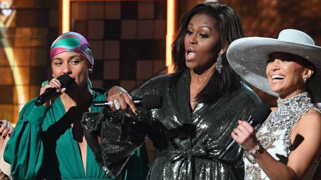 Alicia Keys, Michelle Obama e J.Lo (LaPresse)