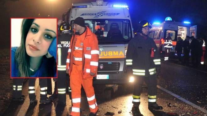 I soccorsi nel luogo dell'incidente e Chiara Venuti (nel riquadro)