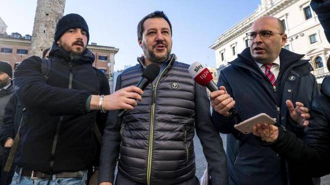 Matteo Salvini arriva al vertice di Palazzo Chigi (Ansa)