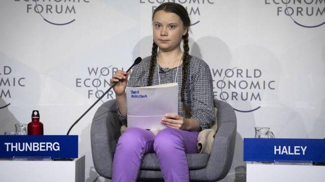 Greta Thunberg parla al World Economic Forum a Davos (Ansa)