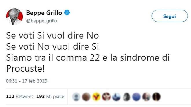 Il tweet di Grillo (Ansa)