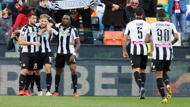 L'esultanza dell'Udinese dopo il gol di Teodorczyk