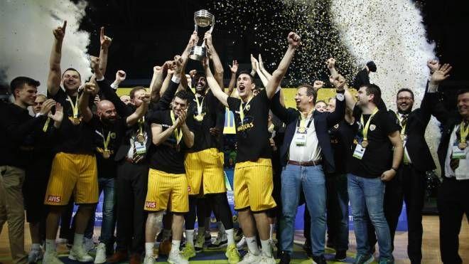 L'AEK Atene in festa (foto FIBA)