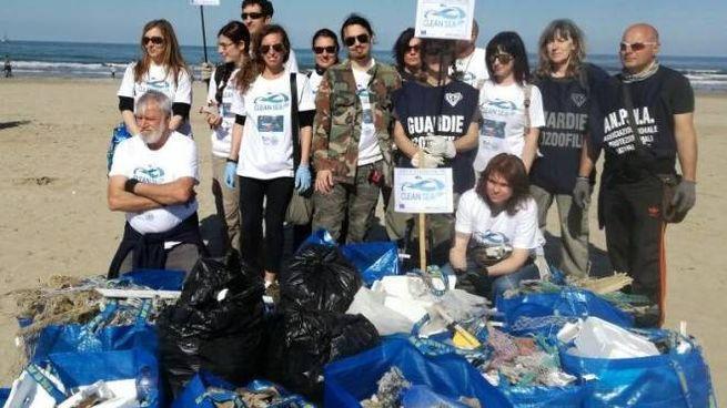 Una delle tante operazioni di pulizia della spiaggia riminese dalla plastica