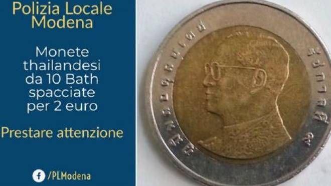 La moneta da 10 Bath simile ai 2 euro