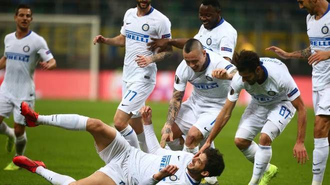 Inter-Rapid Vienna, Ranocchia esulta dopo il gol (LaPresse)