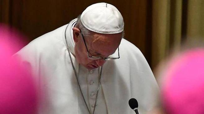 Papa Francesco durante il summit sulla pedofilia nella Chiesa (Ansa)