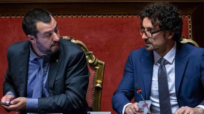 Matteo salvini e Danilo Toninelli (ImagoE)