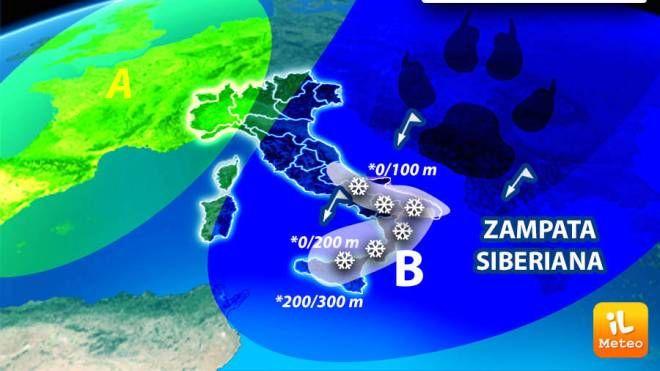 Previsioni meteo 24 febbraio, continua l'azione dell'aria fredda siberiana