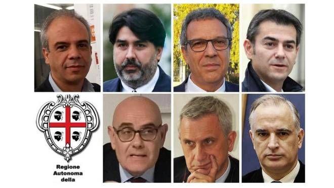 Da sinistra in alto Murgia, Solinas, Desogus, Zedda, Pili, Maminchedda, Lecis (Ansa)