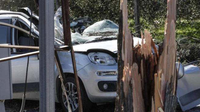 L'auto rimasta schiacciata da un albero a Guidonia (Ansa)
