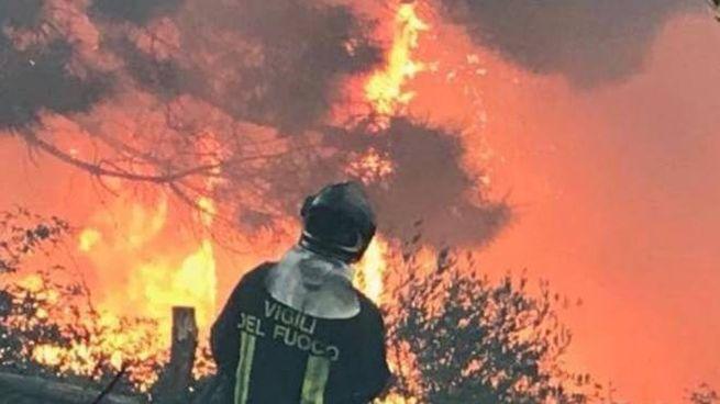 Incendio monte Serra (Pisa). Foto dei vigili del fuoco
