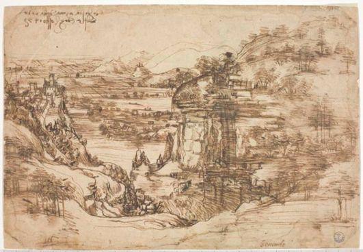 """IL """"PAESAGGIO"""" Primo disegno giovanile di Leonardo."""