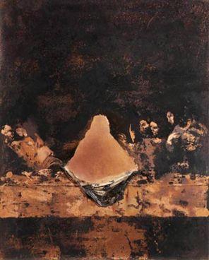 Nicola Samorì, Studio per L'Ultima Cena  (Interno assoluto), 2019, olio e zolfo su rame