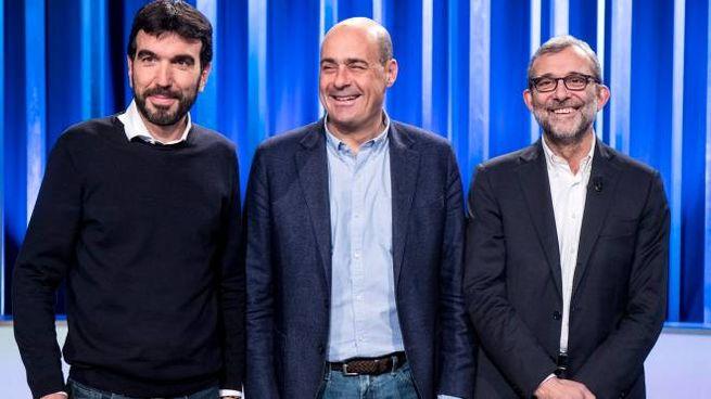 Maurizio Martina, Nicola Zingaretti e Roberto Giachetti (LaPresse)