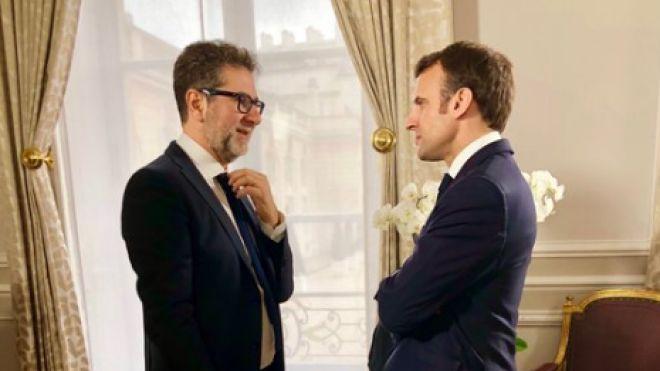 Fabio Fazio e il presidente francese Emmanuel Macron (foto profilo Twitter Fazio)