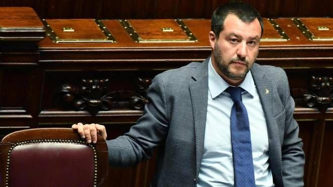 Matteo Salvini nell'Aula della Camera (Ansa)
