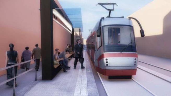 Bologna, il nuovo tram con fermata in una simulazione grafica