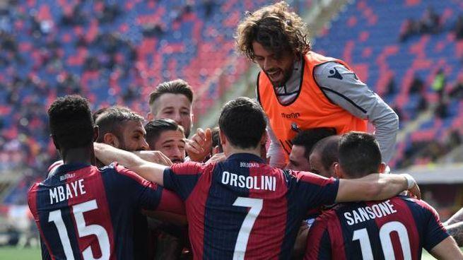 Bologna Cagliari del 10 marzo 2019, l'esultanza rossoblù (FotoSchicchi)