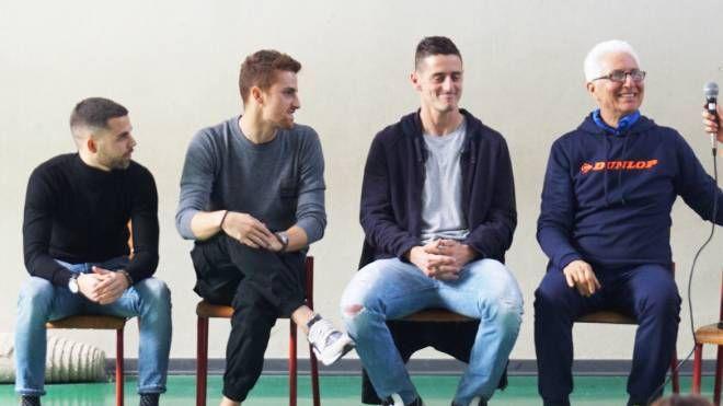 Da destra, il professor Roberto Prosperi, Federico Vettori e Riccardo Calcagni